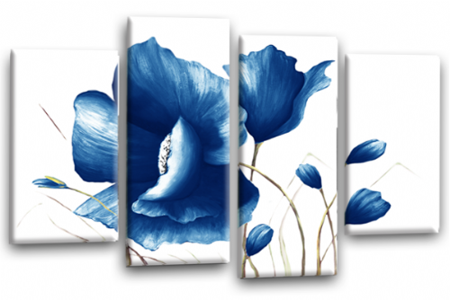 Blue Flower Canvas Wall Art Floral Painting Picture Print Split Panel